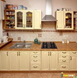 One line simple and elegant modular kitchen with ivory colored cabinets
