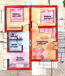 Floor plan for 2BHK house