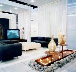 Decorative and inviting element in drawing room with black upholstered sofa and light curtains.