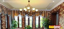 Curtain style with striped pattern valances matching with wallpaper
