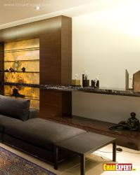 Designer shelving in glass, wood and stone for living room