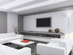 Curved LCD Unit in Living in Different lighting style from ceiling