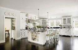 White color cabinets in large kitchen with wooden flooring