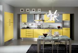 Yellow cabinets in Kitchen