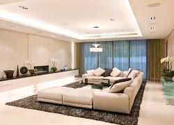 Lovely ceiling, Window, curtain, lighting and furniture for drawing room