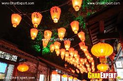 Colorful lanterns arrangement in the streets on ganesh chaturthi