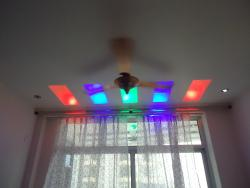 colored light in living room.