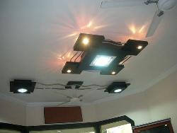 Wooden lights on ceiling