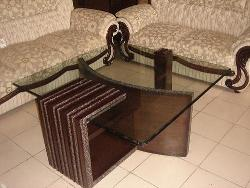 Wooden and glass center table design