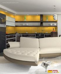Open kitchen in bold colors for living room
