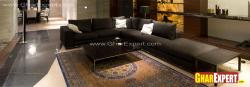 sectional sofa in metallic grey color for living room