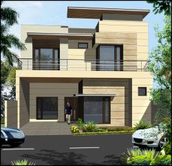 Double storey elevation design with large windows and stone cladding