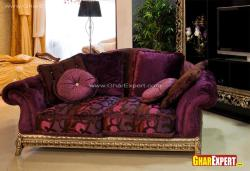 Traditional upholstered sofa wih big cushions