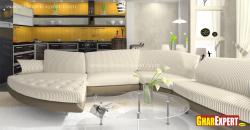 Upholstered Modular sectional sofa for living room in striped pattern