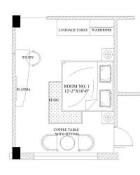 Hotel Bedroom furniture placement Layout sample