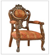 Carved traditional style Wooden upholstered chair