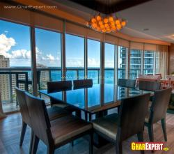 Exterior fixed glass windows for dining room