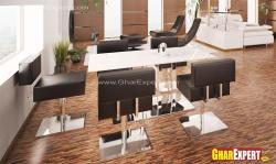 Furniture for dining room in steel pedestal leather seats