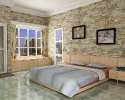Bedroom interior with wall cladding