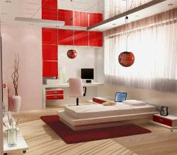 Red and White bold and Modern bedroom design with study table