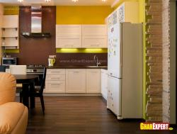 Bold yellow and soothing white colored modern kitchen design