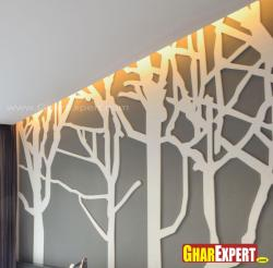 Exotic economical tree design in POP for wall