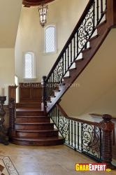 Internal traditional style stairs in wood and iron railing