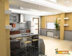 Spacious Kitchen with Wooden Flooring