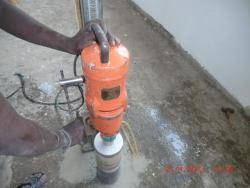 Rcc concrete slab diamond core drilling work using diamond core cutting machine(hilti make,bosch,bosun),padi,chennai,