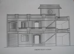 Elevation of building on corner plot