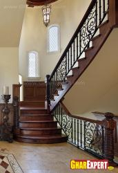 Wooden stairs railing design
