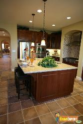 Kitchen Counter Top and Hanging Lights
