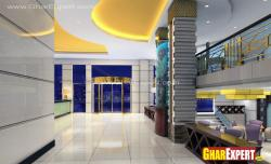 3D interior view of reception and hall of hotel
