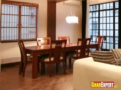 6 seater wooden dining table