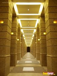 Granite pillars in corridor