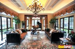 Modern drawing room interior with big sized windows