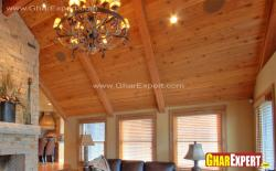 Sloped wooden plank ceiling