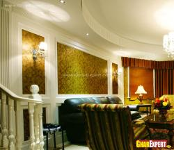 wooden wall claddings in drawing room