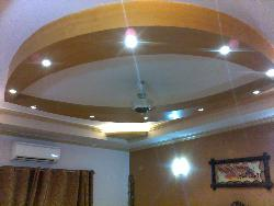 Wooden ceiling design with lights