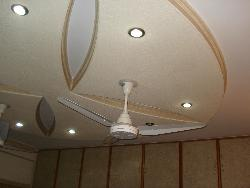 Minimal POP ceiling design with fan