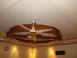 Wooden ceiling design with fan