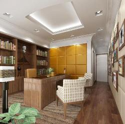 Home Office Interior, Flooring, ceiling and Furniture design