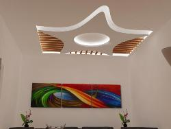 Combination of POP and wooden ceiling design