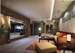 Living room furniture, Sofa, LCD unit, Flooring, Ceiling and Lighting Design and Walls