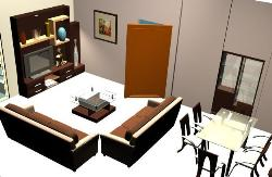 Living Room Planning with Dining showing Furniture, LCD Unit, Dining