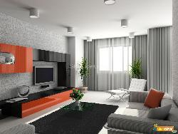 Living Room Interior in Modern Style showing Furniture, LCD Unit, Flooring and Lighting