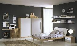 Kids room interior, bed, flooring, wardrobe design
