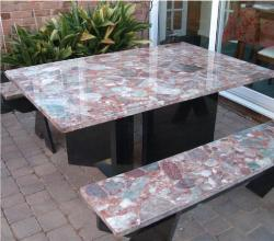 Patio Table with Mother of pearl Top
