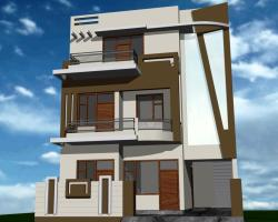 "30"" front colony house with outside wall design simple less expensive work"