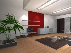 Living Room simple ceiling, LCD Unit, Flooring Interior